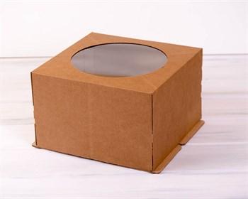 Коробка для торта усиленная от 1 до 3 кг, 30х30х19 см, с  прозрачным окошком, крафт