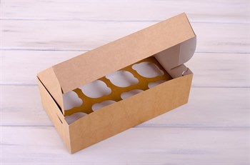 Коробка для капкейков/маффинов на 8 шт, 33х16х11 см, крафт