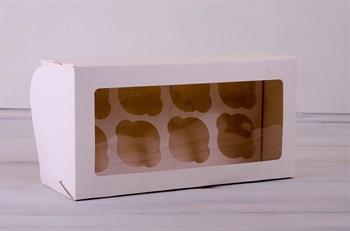 Коробка для капкейков/маффинов на 8 шт, 33х16х11 см, с прозрачным окошком, белая