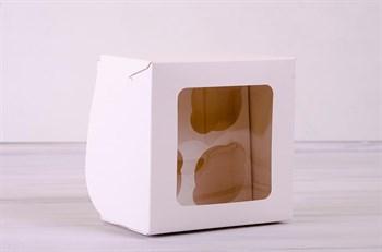 Коробка для капкейков/маффинов на 4 шт, с прозрачным окошком, 16х16х11 см, белая