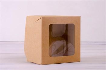 Коробка для капкейков/маффинов на 4 шт, с прозрачным окошком, 16х16х11 см, крафт