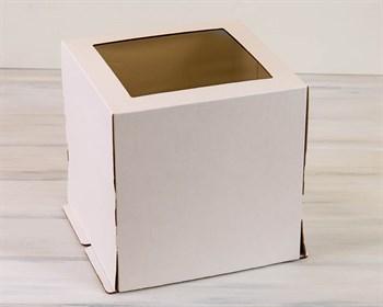 Коробка для торта от 1 до 5 кг, 30х30х30 см, с прозрачным окошком, белая