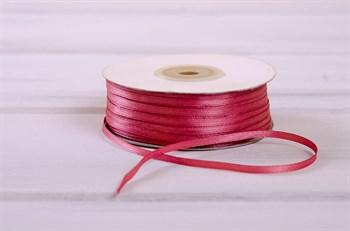 Лента атласная, 3 мм, тёмно-розовая, 1 м