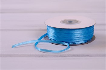 Лента атласная, 3 мм, голубая, 91 м