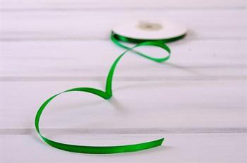 Лента атласная, 6 мм, зеленая, 1 м
