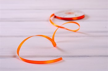 Лента атласная, 6 мм, оранжевая, 1 м