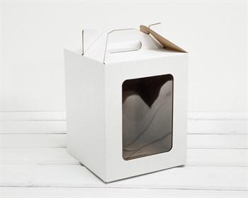 Коробка с окошком и ручкой, 16х16х20 см, белая