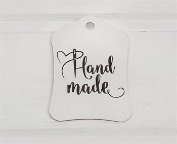 """Бирка картонная, """"HAND MADE"""", 8х5 см, белая"""
