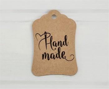 """Бирка картонная, """"HAND MADE"""", 8х5 см, крафт"""