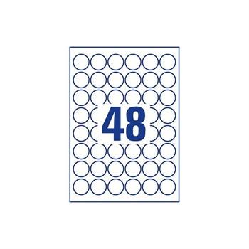 Этикетки самоклеящиеся, круглые, d=3,2 см, лист 48 шт., белые