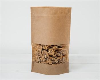 Пакет Дой-пак с zip-lock и окошком, 22,5х13,5х4 см, коричневый
