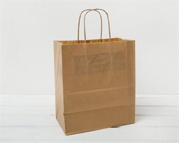 Крафт пакет бумажный, 25х22х12 см, с кручеными ручками, коричневый