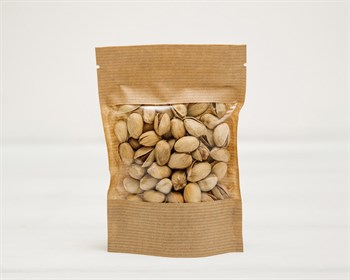 Пакет Дой-пак с zip-lock и окошком, 15х10,5х3,5 см, окно 7 см, коричневый