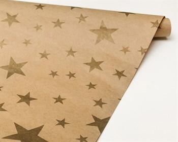 Бумага упаковочная, 70х100 см,«Звезды золотые», крафт, 1 лист