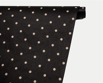 Бумага упаковочная, 50х70 см, черная в горошек, крафт, 1 лист