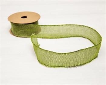 Лента джутовая 40 мм, оливково-зелёная, 1 м