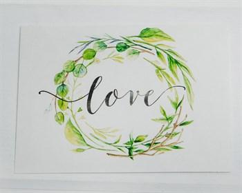 Открытка «Love, листья»  8х6см, 1шт.