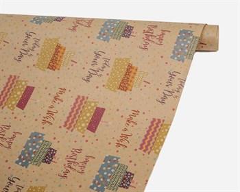 Бумага упаковочная, 50х70 см, Make a wish, крафт, 1 лист