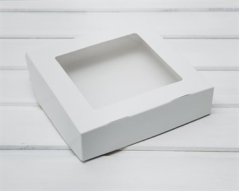 Коробка для выпечки и пирожных, 19,5х19,5х4,8 см, с прозрачным окошком, белая