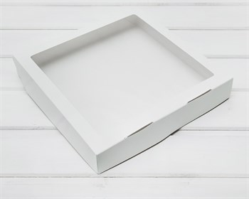Коробка для выпечки и пирожных, 25,3х25,3х4,3 см, с прозрачным окошком, белая