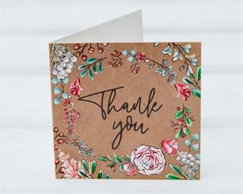 Открытка «Thank you», 7х7см, 1шт.