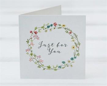 Открытка «Just for you», цветочный веночек, 7х7см, 1шт.