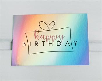 Открытка с голографией Happy birthday, подарок, 7,5х10см, 1шт.