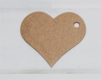 Бирка картонная, сердце, крафт