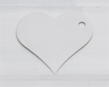 Бирка картонная, сердце, белая