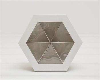 Коробка шестигранная с окошком, 22х19х5,5 см, крышка-дно, белая