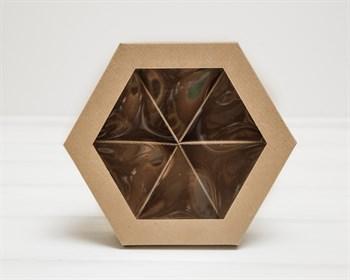 Коробка шестигранная с окошком, 22х19х5,5 см, крышка-дно, крафт
