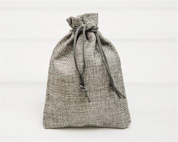 Мешочек подарочный из холщи, 9х13 см, серый, 1 шт.