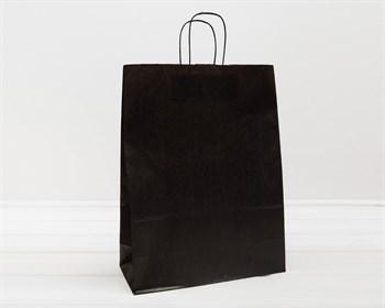Крафт пакет бумажный, 45х35х15 см, с кручеными ручками, черный