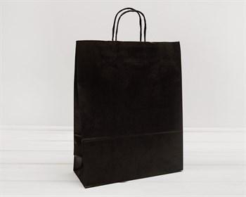 Крафт пакет бумажный, 40х32х13 см, с кручеными ручками, черный