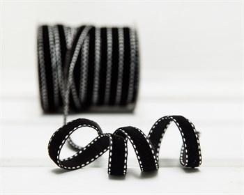 Лента бархатная с отстрочкой, 10 мм, черная, 1 м