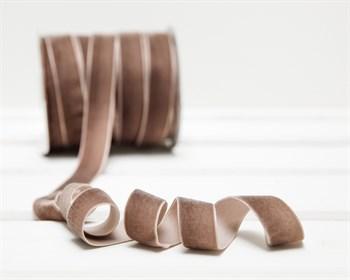 Лента бархатная, 20 мм, серо-коричневая, 1 м