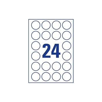 Этикетки самоклеящиеся, круглые, d=4,5 см, лист 24 шт., белые