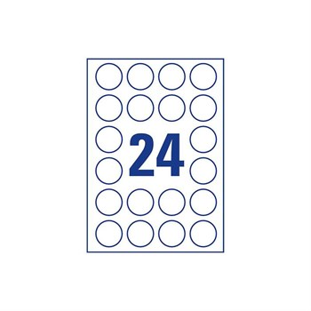 Этикетки самоклеящиеся, круглые, d=4 см, лист 24 шт., белые