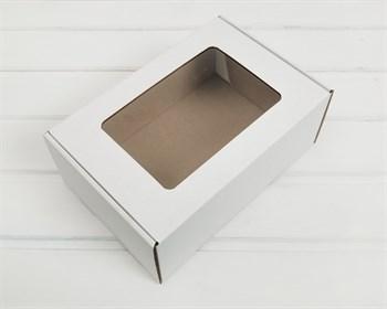 Коробка с окошком, 25х17х10 см, из плотного картона, белая