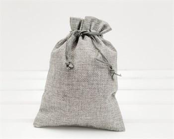 Мешочек подарочный из холщи, 14х20 см, серый, 1 шт.