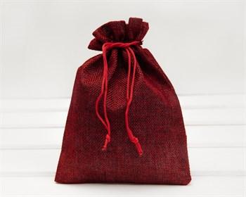 Мешочек подарочный из холщи, 14х20 см, красный, 1 шт.