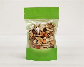 Пакет Дой-пак с zip-lock и окошком бумажный, 18,5х11х3,5 см, окно 10 см , зеленый